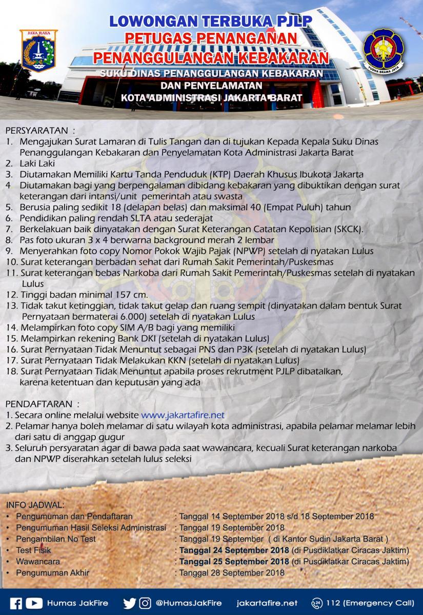 Lowongan Kerja Dinas Penanggulangan Kebakaran Dan Penyelamatan Provinsi Dki Jakarta Jakarta Barat Ika Um